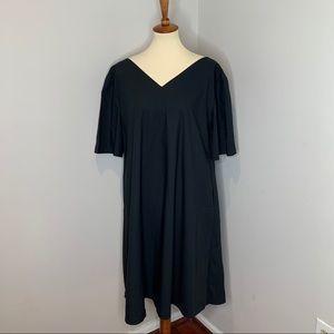 Merlette Black Cotton Midi Dress Size Small S